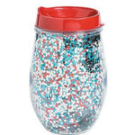 Patriotic Glitter Wine Tumblers with Lids