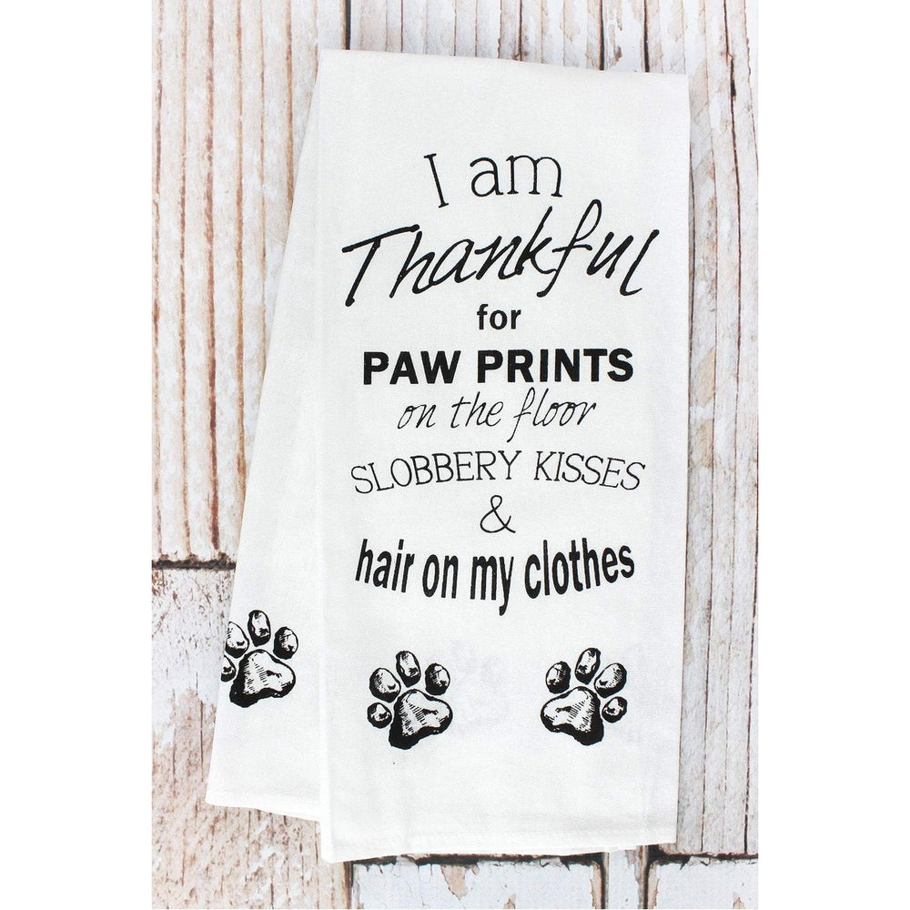 Thankful for Paw Prints -- Kitchen Towel
