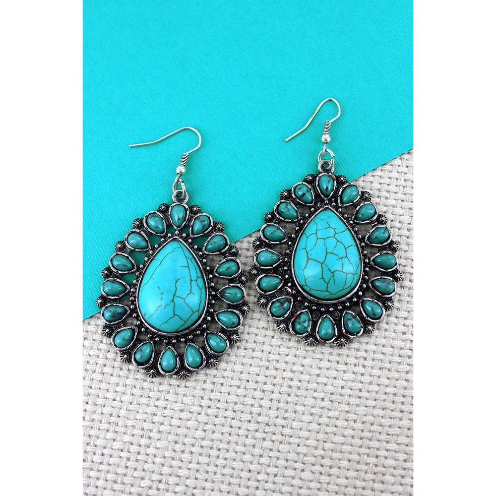 Turquoise Beaded Burnished Silvertone Teardrop Earrings