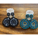 Seed Bead Flower Pattern Earrings -- Choice of Color