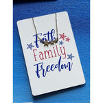 Faith, Family, & Freedom Necklace Card