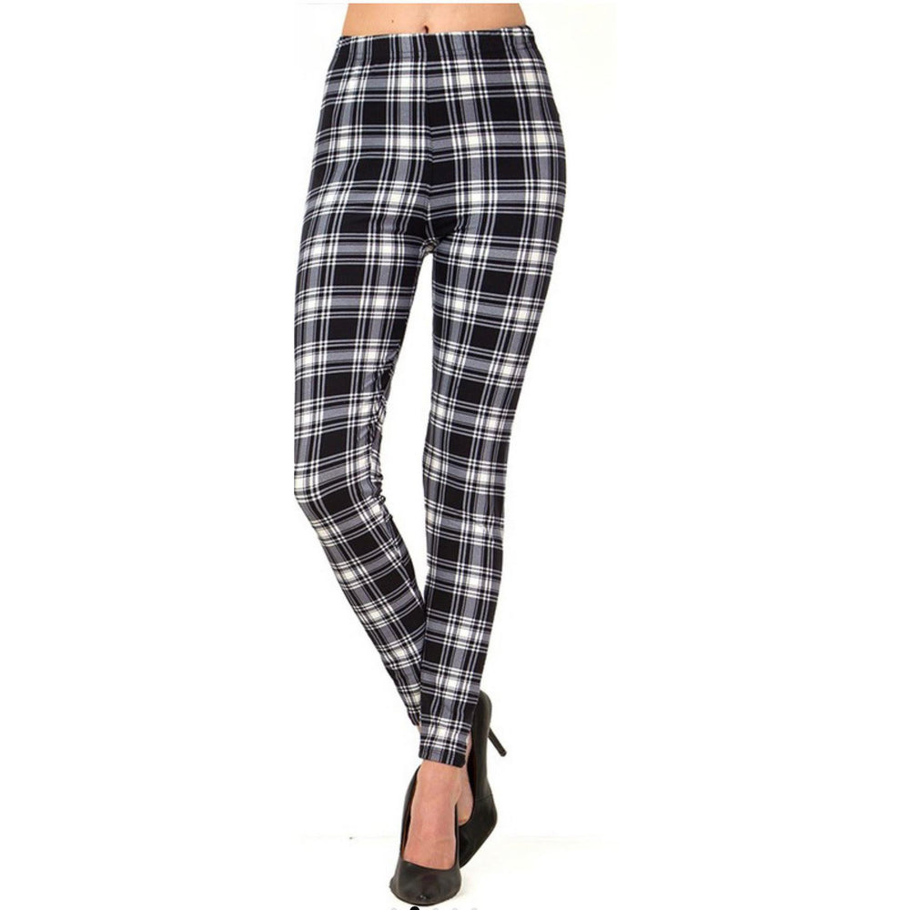 Gray & White Plaid Leggings