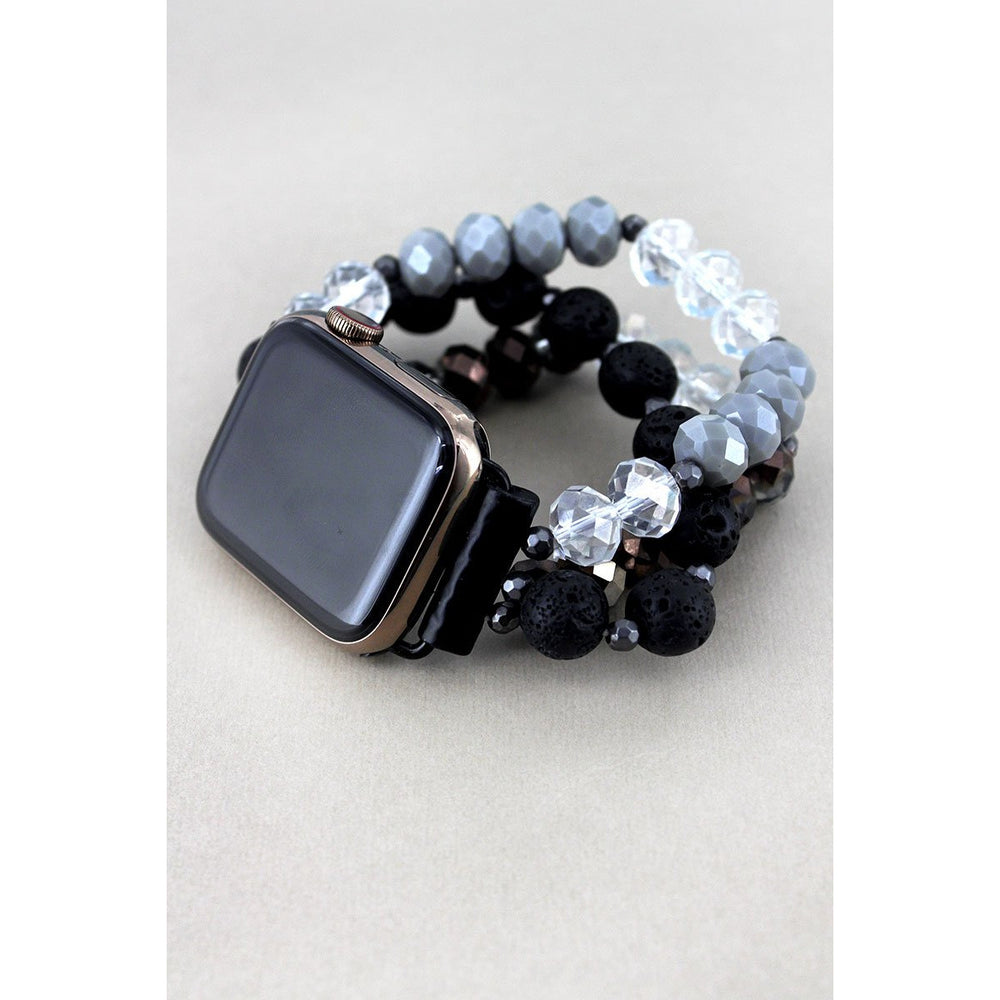 Monochrome Lava and Faceted Bead Bracelet Band for Apple Watch