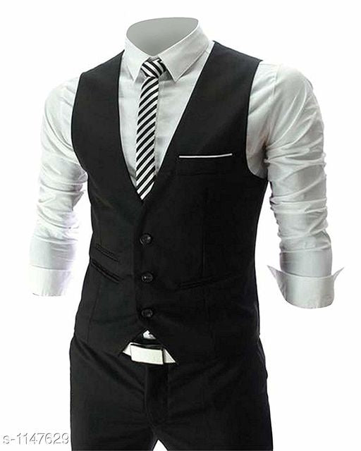 Men's Stylish Poly Cotton Solid Waist Coat
