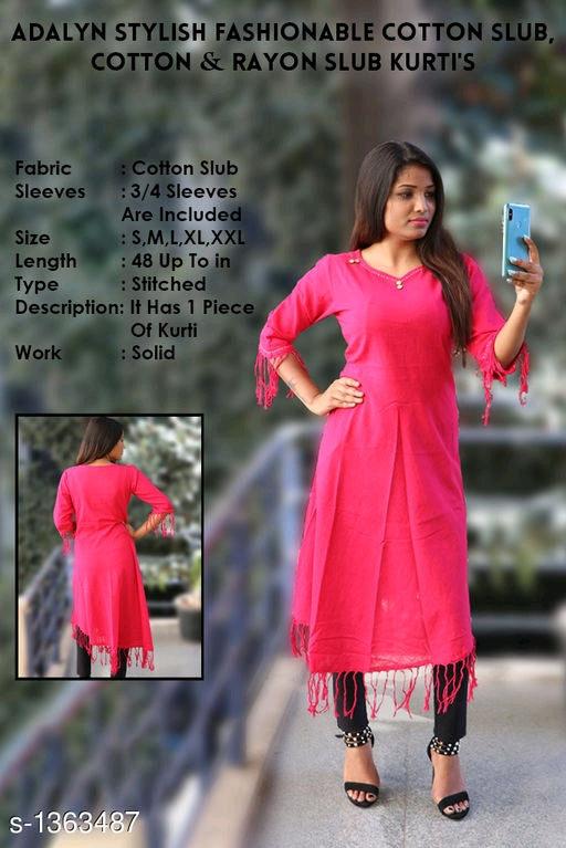 Adalyn Stylish Fashionable Cotton Slub, Cotton & Rayon Slub Kurti's