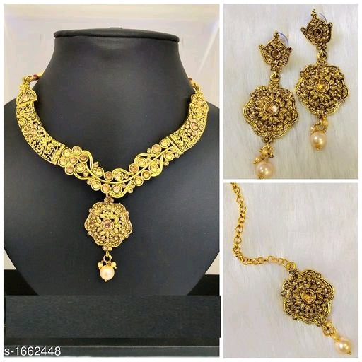 Sizzling Antique Fancy Alloy Necklace Set