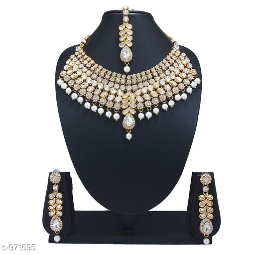 Myhra Stunning Crystal Kundan Worked Metal Bridal Jewellery Sets#
