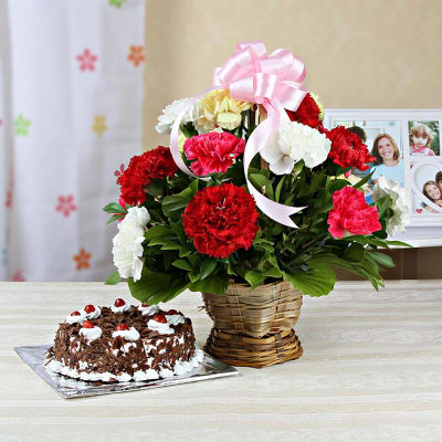 Basket Arrangement of 15 Mixed Carnations with Black Forest Cake (1 Kg)