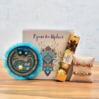 Beautiful Set of 2 Rakhi with Thali and Chocolates in a Gift Box