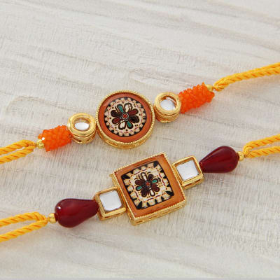 Beautiful Two Meena & Kundan Stone Rakhi with Stone work Dibbi