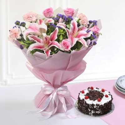 Bouquet of Mix Flowers with Round Black Forest Cake