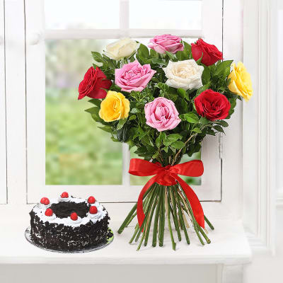 Bunch of 10 Mix Roses with Black Forest Cake (Half Kg)