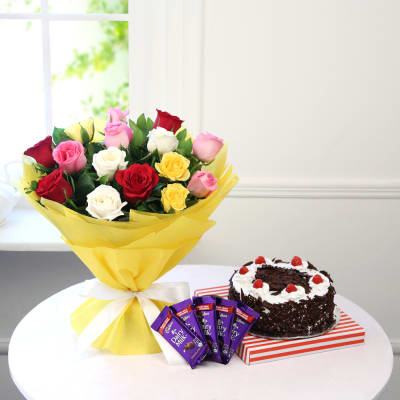 Bunch of 15 Mix Roses with Black Forest Cake & Chocolate Bars