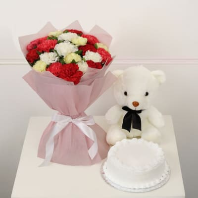 Bunch of 20 Mix Carnations with Half Kg Vanilla Cake & Teddy