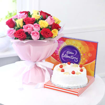 Bunch of 20 Mix Roses with Celebrations & Pineapple Cake (Half Kg)