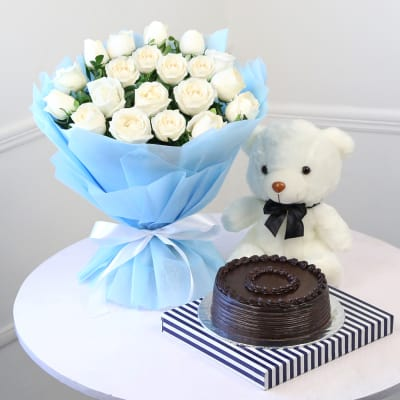 Bunch of 20 Roses with Half Kg Chocolate Cake & Teddy