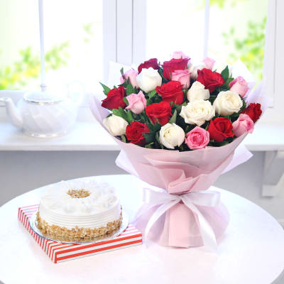 Bunch of 25 Mix Roses with Butterscotch Cake (Half Kg)
