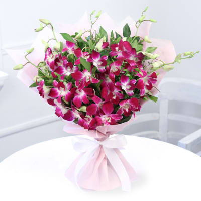 Bouquet of 6 Orchids with Half Kg Black Forest Cake & 12 Inch Teddy