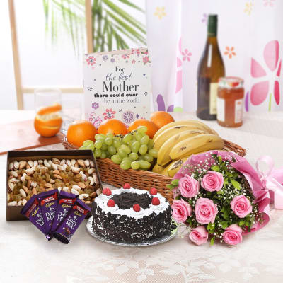 Bunch of Roses & Mixed Fruits Hamper