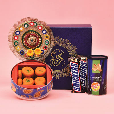 Colorful Tikka Thali with Box of Yummy Kesar Peda, Roasted Pista & 2 Snickers