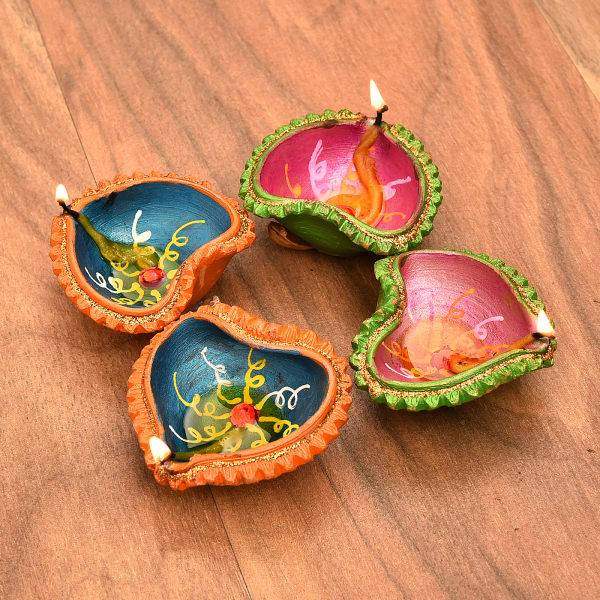 Colorfully Painted Clay Diyas with Almonds Pack