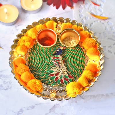 Decorative LED Puja Thali with Puja Kit & Kaju Katli