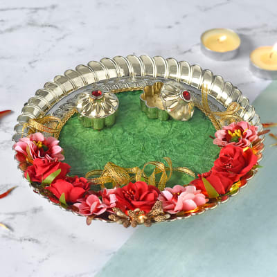 Decorative Puja Thali with Rose Kaju Katli