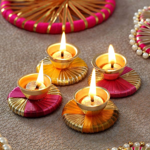 Decorative Metal Diyas with Dry Fruits