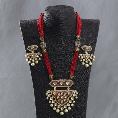 Designer Kundan and Meenawork Necklace Set