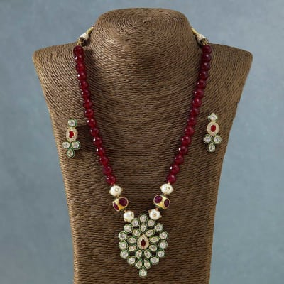 Designer Kundan Necklace Set with Red Stones