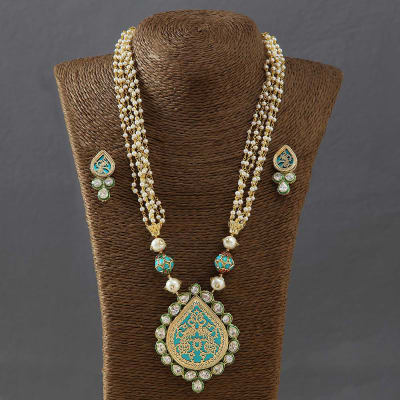 Designer Thewa Work Pearl Necklace Set