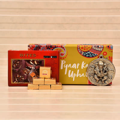 Diwali Special Gift Pack of Ganesha Wall Hanging with Mewa Cube Bites