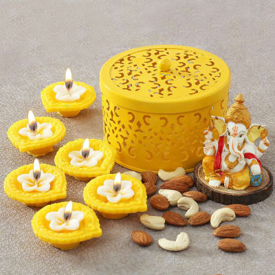 Diyas with Assorted Dry Fruits and Ganesh Idol