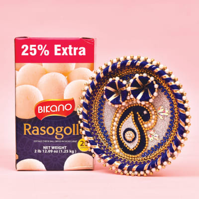 Fancy Tikka Thali with 1.25 kg Rasogolla by Bikano