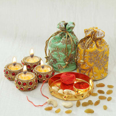 Gold Plated Puja Thali with Diyas & Dry Fruits