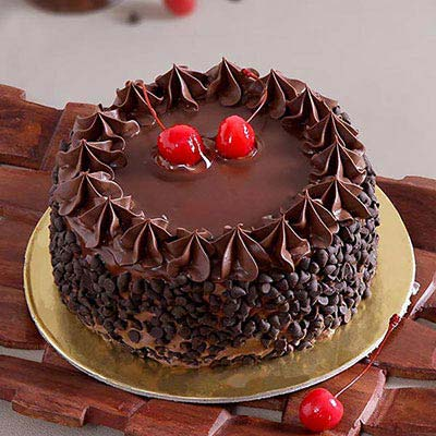 Chocolate Cake with Chocolate Chips & Cherry Toppings