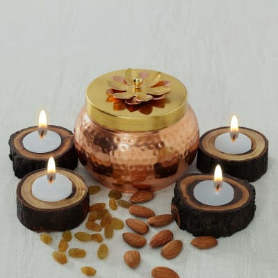 Metal Box with Assorted Dry Fruits and Diyas