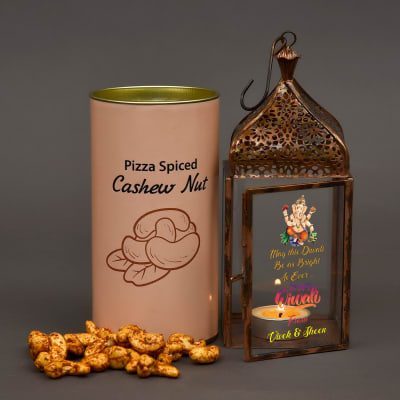 Personalized Hanging Lantern for Diwali with Flavored Cashewnuts