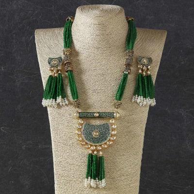 Rajasthani Traditional Thewa Work Necklace Set with Green Jade Stone