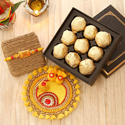 Swastik Rakhi with Moulded Choco Box n Pooja Thali