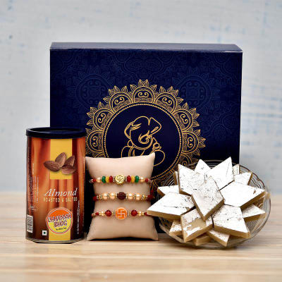 Traditional Beaded Rakhi Set with Kaju Katli and Almonds in a Gift Box