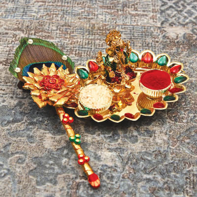 Traditional Ganesha Bhaidooj Tikka with Peacock Feather Stick
