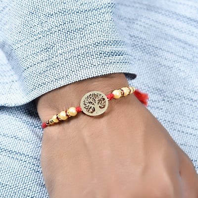 Unique Tree of Life Dial Rakhi with Pearl Embellishment