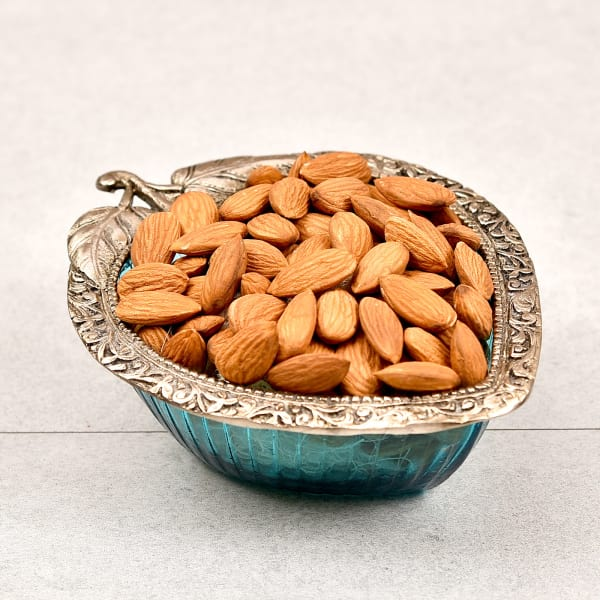 White Metal Bowl with Almonds and Greeting Card