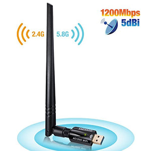 anewkodi 1200Mbps wifi adapter front photo 2.4G and 5.8G frequency 5dbi