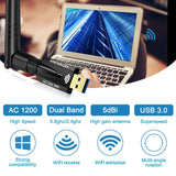 USB WiFi Adapter USB3.0 1200Mbps,ANEWKODI Dual Band (2.4GHz /300Mbps+5.8GHz /867Mbps) 802.11ac with 5dBi External Antennas for PC/Desktop/Laptop/Cellphone,Supports Windows XP Vista/7/8/8.1/10,Mac OS