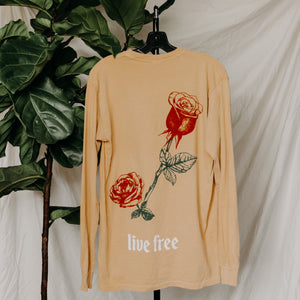 Set Free with Rose on back Long Sleeve Tee in Mustard