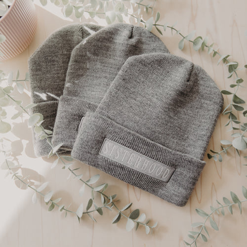 Knit Sisterhood Beanie Hat in Grey