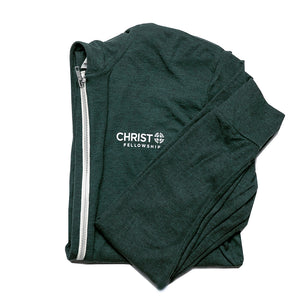 Unisex Christ Fellowship Zip Hoodie in Emerald