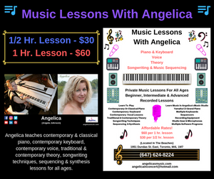 Music Lessons With Angelica - 1/2 hr. Lesson - $30 - angelicasmusic-com